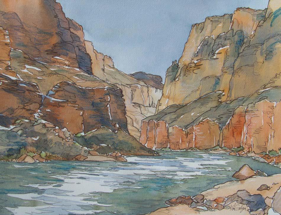 Watercolor Cal Salmon River