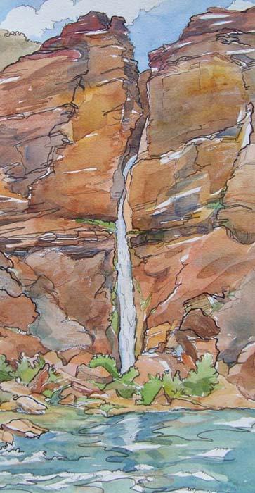 deer creek falls grand canyon watercolor painting