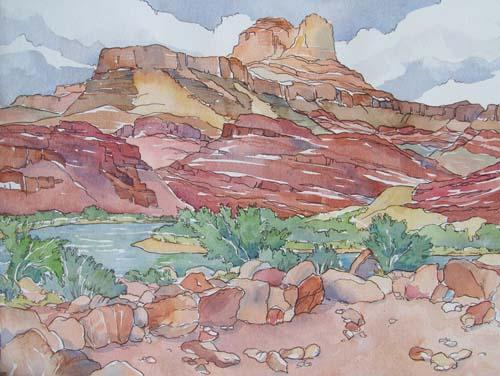 unkar ruind Grand Canyon watercolor painting